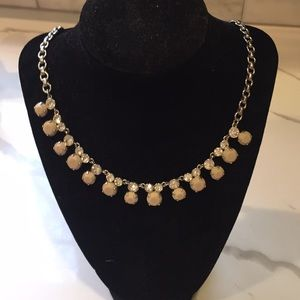 Beige gem and crystal necklace